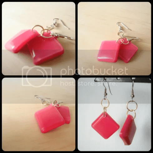Pink Opaque Square Earrings