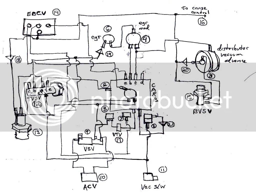 1986 Toyota tercel distributor vacuum line diagram