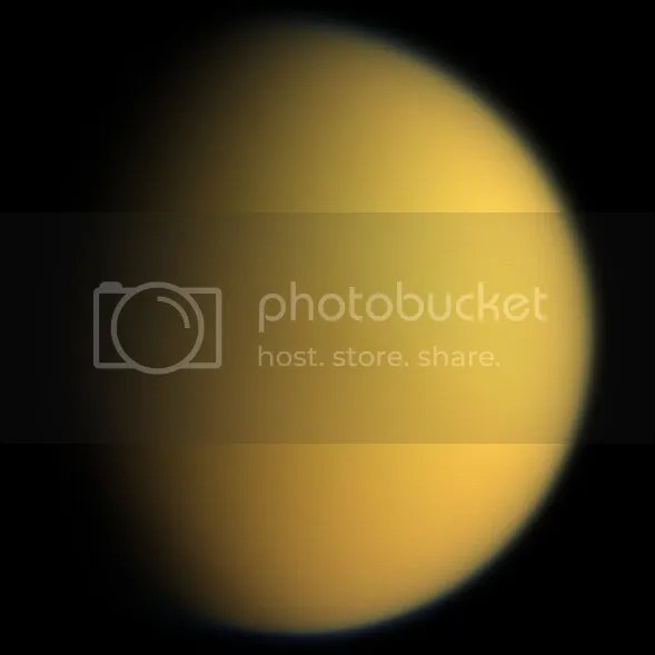 Titan, shrouded in its mysterious atmosphere, imaged by Cassini.