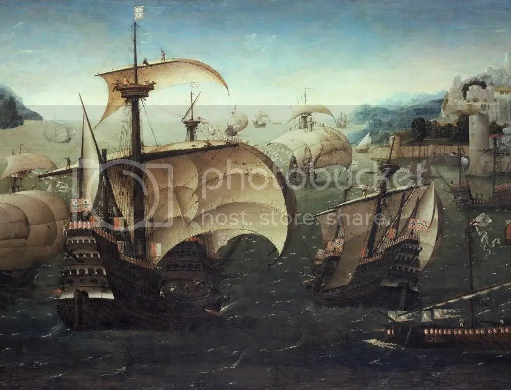Circle of Joachim Patenier, Portuguese Carracks off a Rocky Coast, 1540.