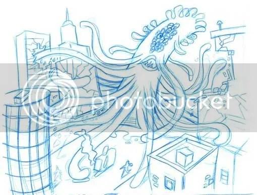 O Monstro Horripilante Gigante Cheio de Tentáculos Vindo de Outra Dimensão