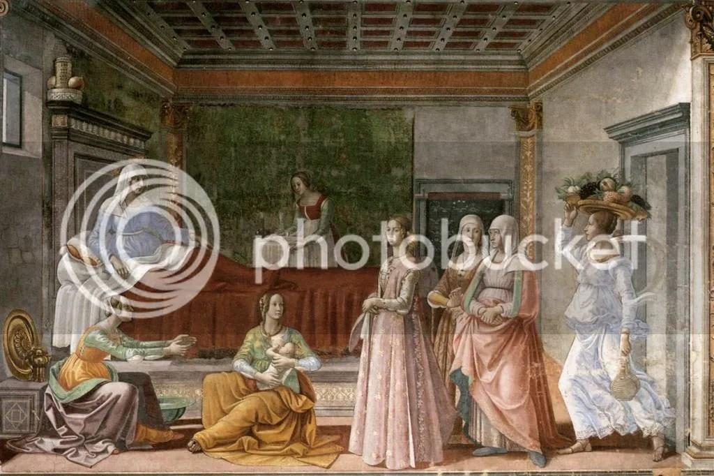 Domenico Ghirlandaio, Birth of St John the Baptist, Santa Maria Novella