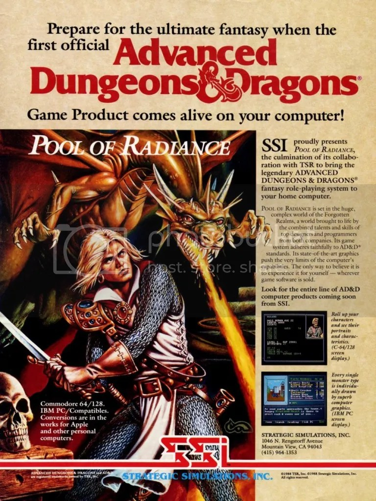 Pool of Radiance ad 1988