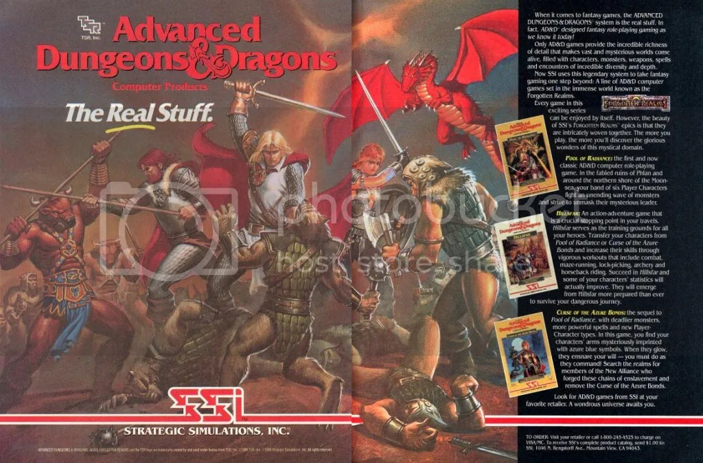 I'm not sure why, but Azure Bonds didn't seem to get its own separate ad the way that Pool of Radiance and Hillsfar did. But here it is in an ad SSI took out in 1989 showing off their AD&D licenses.