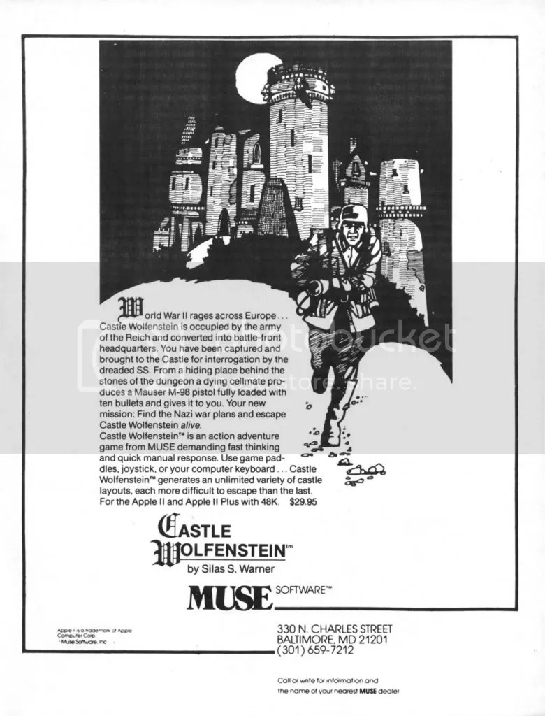 Castle Wolfenstein ad from the end of '81