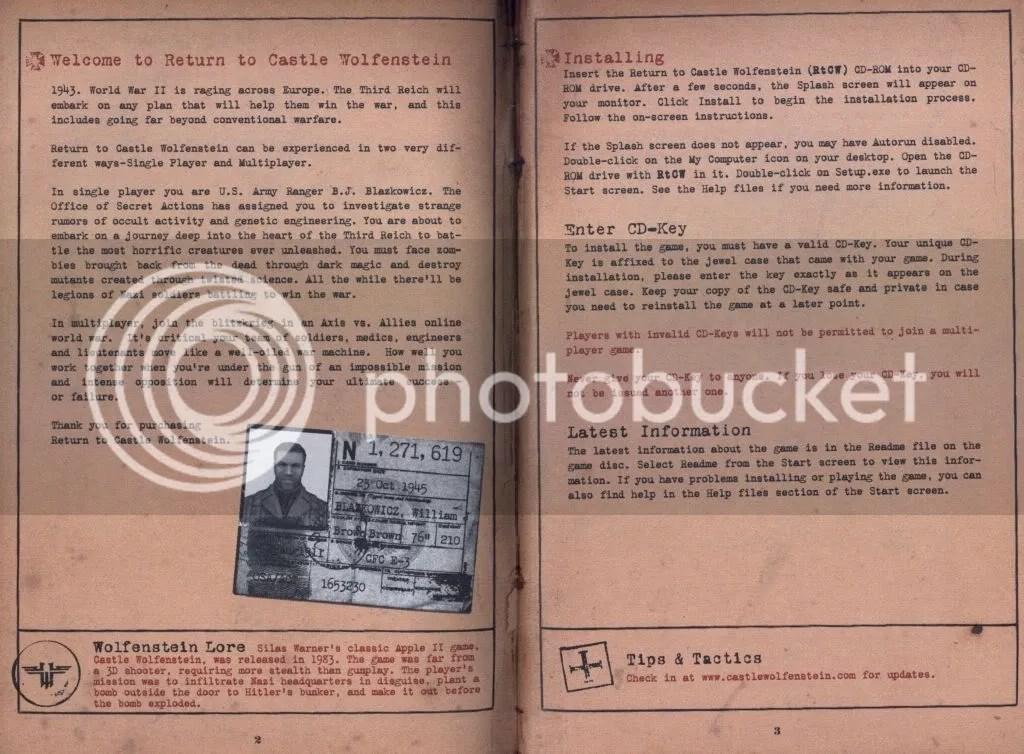 Return to Castle Wolfenstein manual excerpt