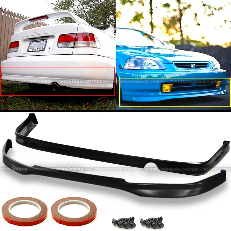 hight resolution of details about fits 96 98 honda civic ek 2dr 4dr jdm pu t r style front rear bumper lip set