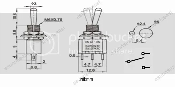 5×Mini Toggle Switch SPDT 3 Position ON-OFF-ON 3-PIN 250V