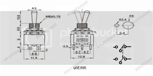 50×Mini Toggle Switch DPDT 3 Position ON-OFF-ON 4-PIN 250V
