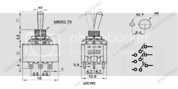 50×Mini Toggle Switch 3PDT 3 Position ON-OFF-ON 9-PIN 250V