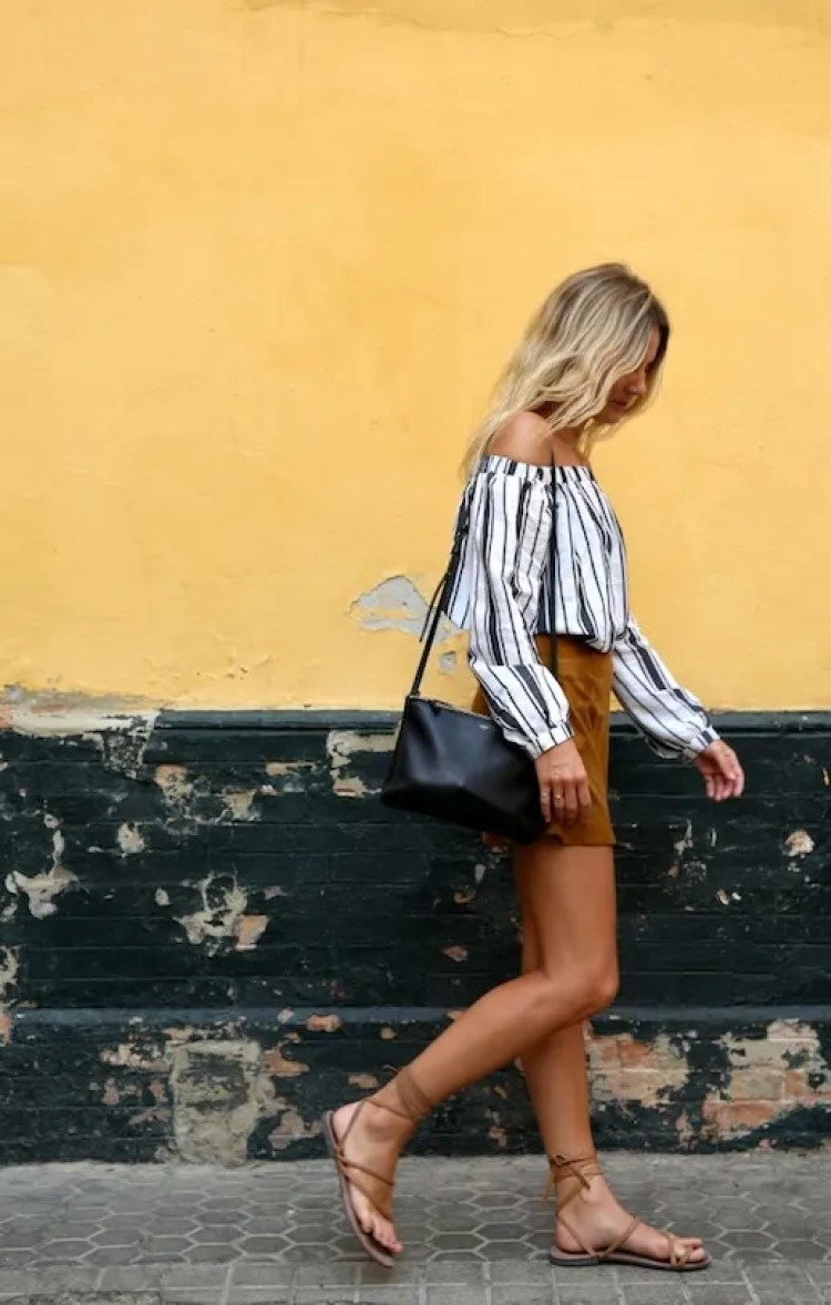22 Le Fashion 31 Stylish Ways To Wear An Off The Shoulder Look Striped Top Shorts Lace Up Sandals Via Fashion Me Now