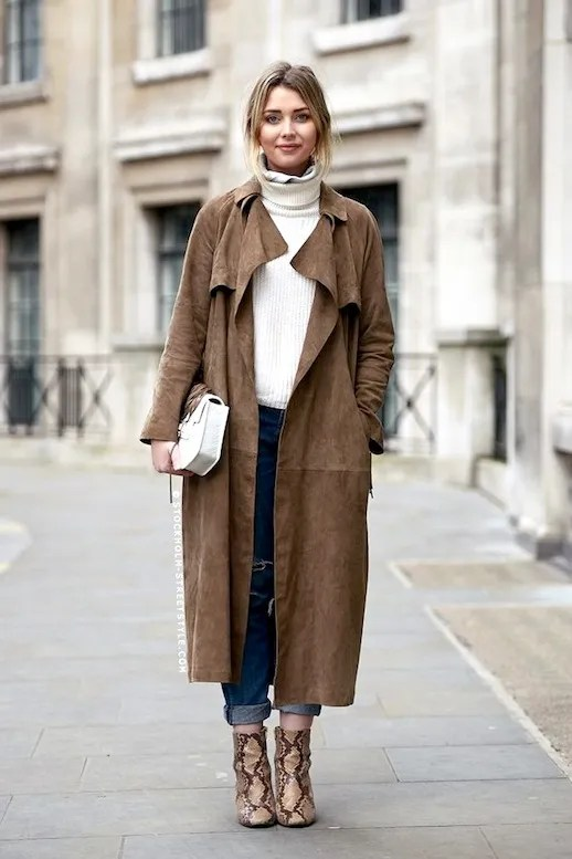Image result for trench coat, sweater, and boots