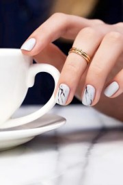 white marble nails