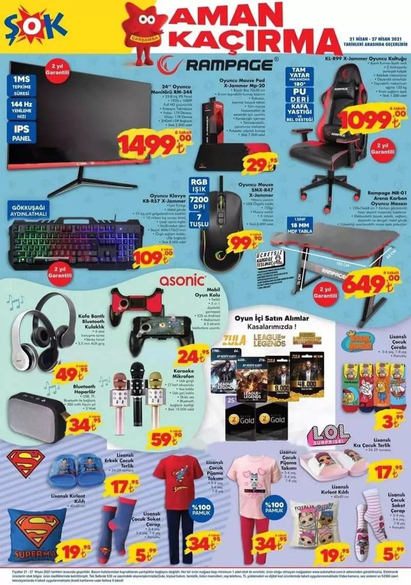 21 Nisan ŞOK Aktüel Kataloğu! Oyuncu masa, elektrikli ev aletleri ve elektronik ürünlerde..