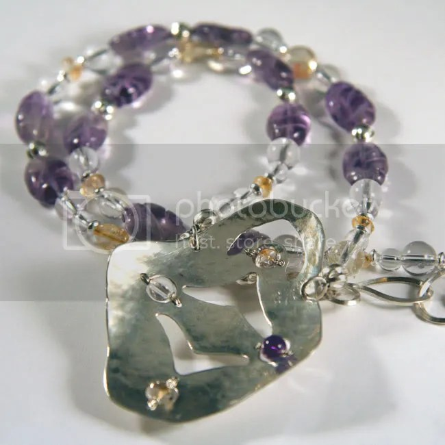 mother's necklace of handforged sterling silver, citrine, amethyst, quartz