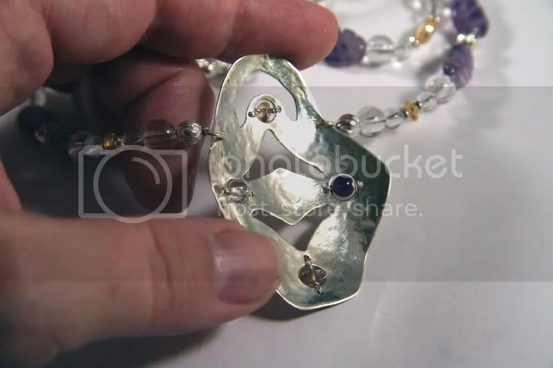 mother's necklace centerpiece - handforged sterling silver with citrine, amethyst, quartz