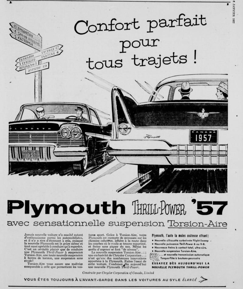 Vieilles Publicitée Dodge/Plymouth/Chrysler au Québec