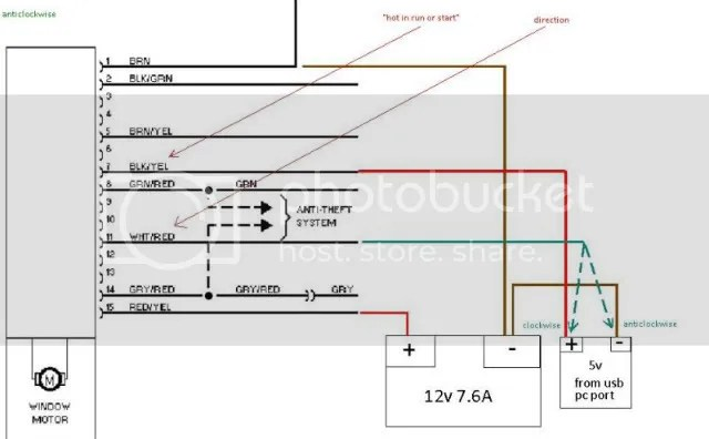electric window wiring diagrams sunl 50cc atv diagram help with a vw golf power motor now when i connect the battery terminals only to wires number 1 and 15 is still as expected needs enable direction