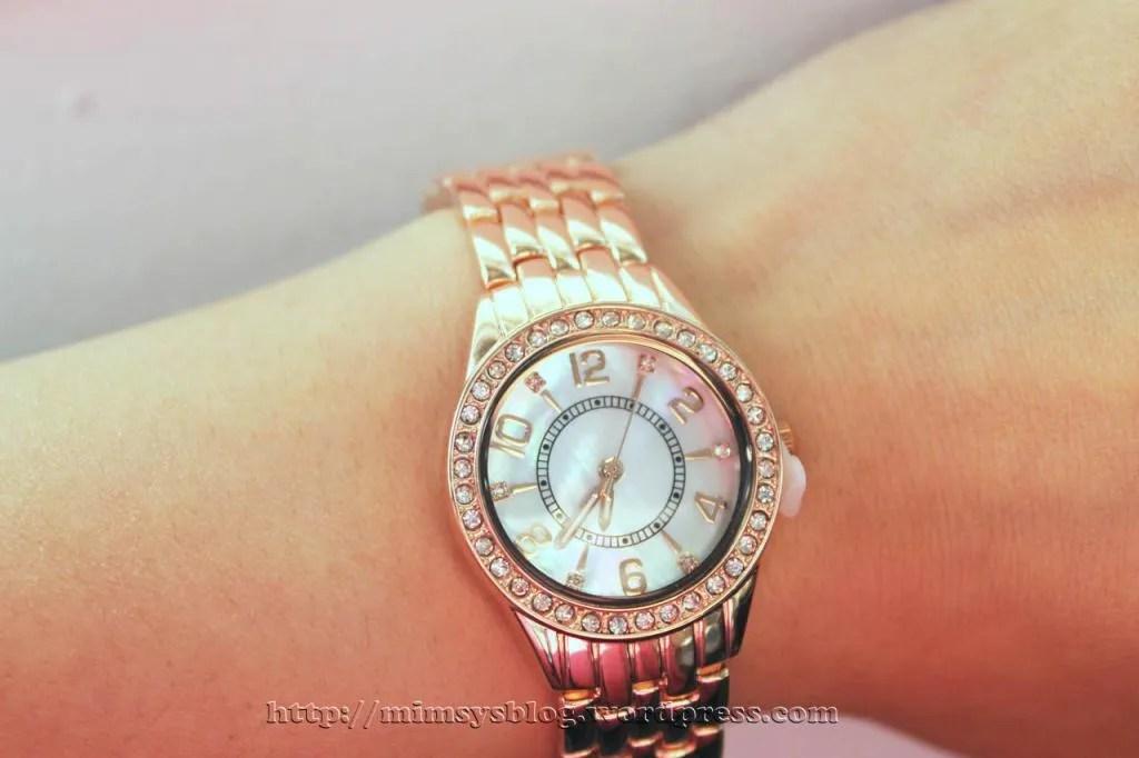Merona Round Case Bracelet Watch with Stones - Rose Gold