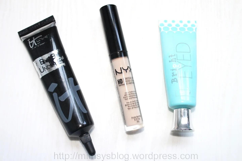 It Cosmetics Bye Bye Under Eye (Light), NYX HD Concealer (Fair), Coastal Scents Bright Eyed (Ivory)
