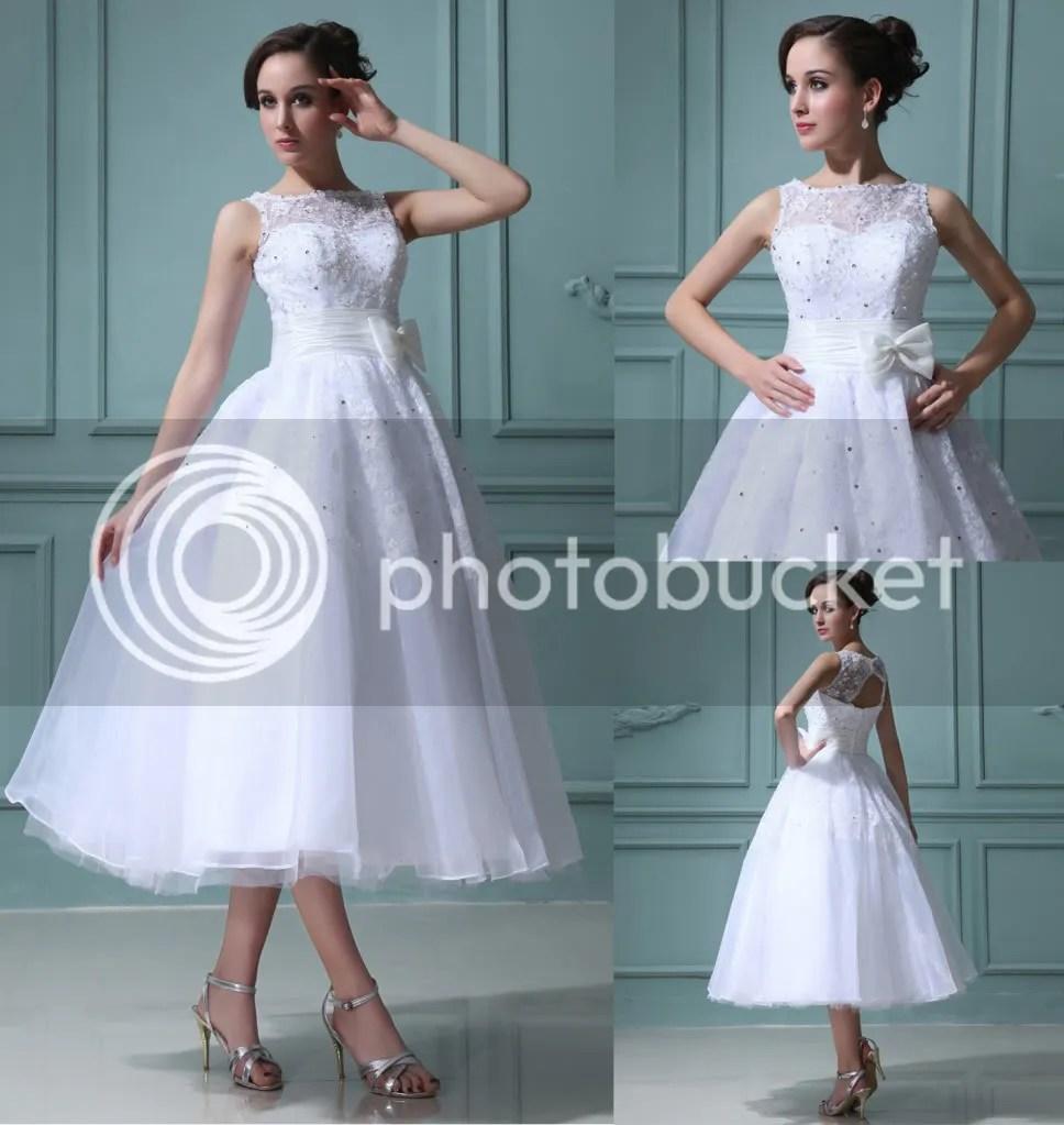 High Collar Mini Short Wedding Dress Tea Length bateau