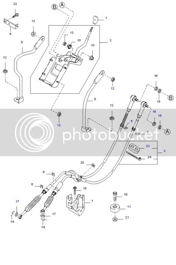 KIA Sedona Gear Box Linkage Selector Cables 2.9 Diesel