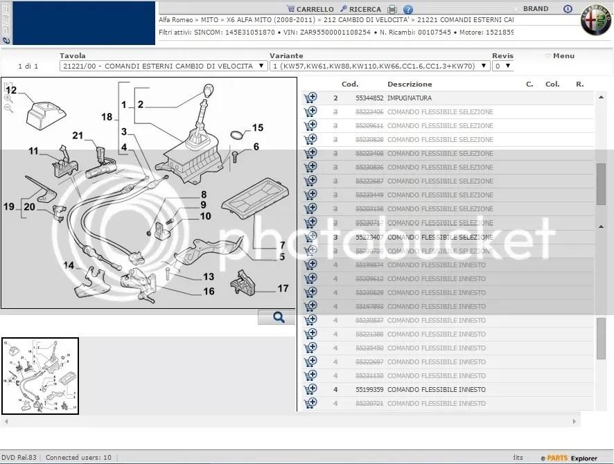 ALFA ROMEO MITO X6 MiTo 955 Gear Cables Linkage Gearbox