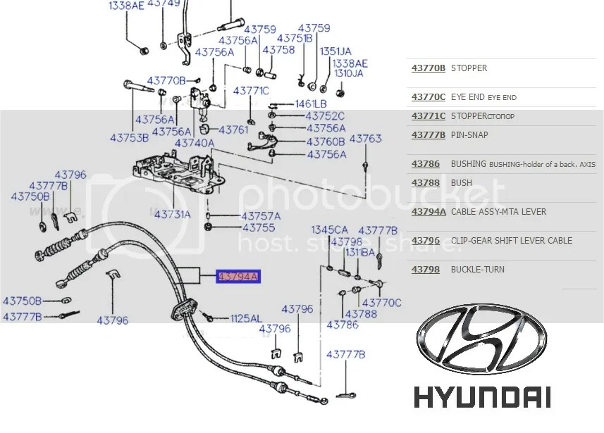 Hyundai Accent Gear Cables Linkage link Leaver Gearbox
