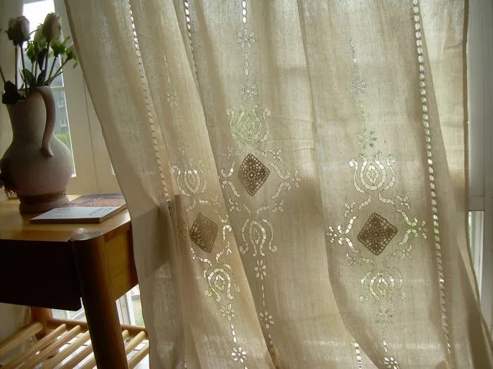 1 PC Country Cotton Linen Crochet Lace Curtain Panel Drape Tab Top