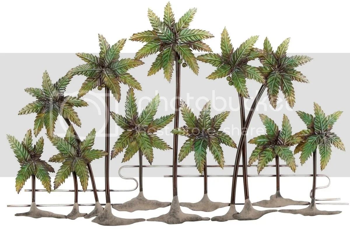 Large Metal Palm Tree Wall Decor Glazed, Contemporary
