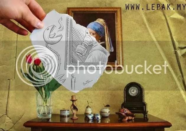 lukisanpensel5 Gambar Menarik Lukisan Pensel Bergabung Dengan Realiti