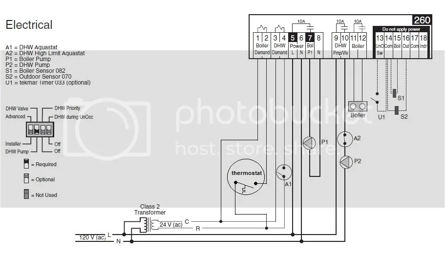 Need help with Tekmar 260 and Taco SR 503 wiring to boiler