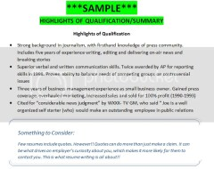 SAMPLE Highlights Of Qualifications Summary Getting That Job