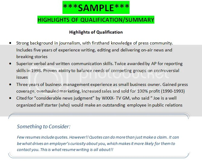SAMPLE Highlights Of Qualifications Summary Getting That Job For Job Qualifications