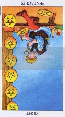Libra - Eight of Pentacles reversed