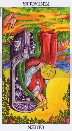 Radiant Rider-Waite Queen of Pentacles Reversed