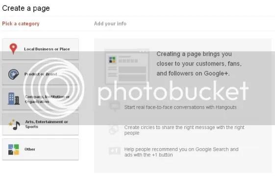 Google Plus Business Page Categories