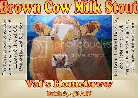 Brown Cow Milk Stout Label