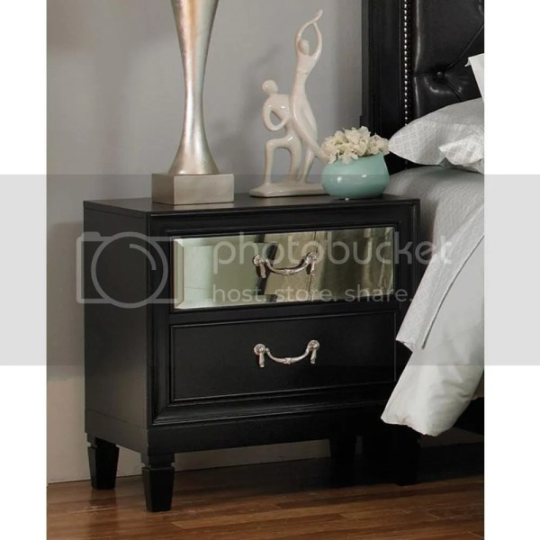 Devine Night Stand Black Finish With Mirror Front Panel