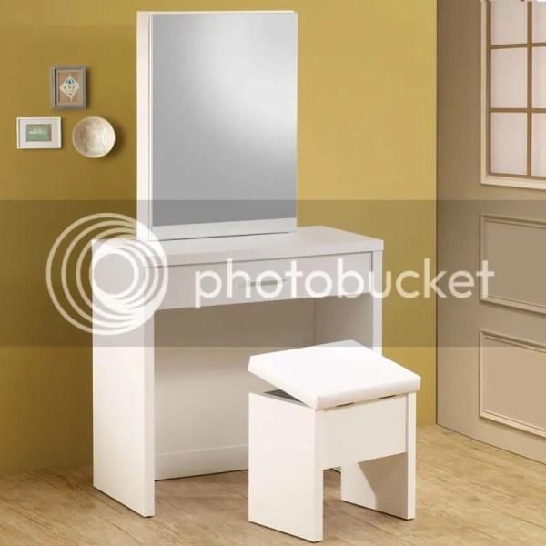 Modern Glossy White Vanity With Hidden Mirror Storage & Lift