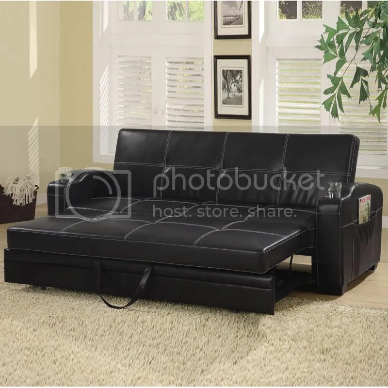 lounger sofa with pull out trundle best singapore 2018 faux soft leather bed sleeper w/ storage cup ...