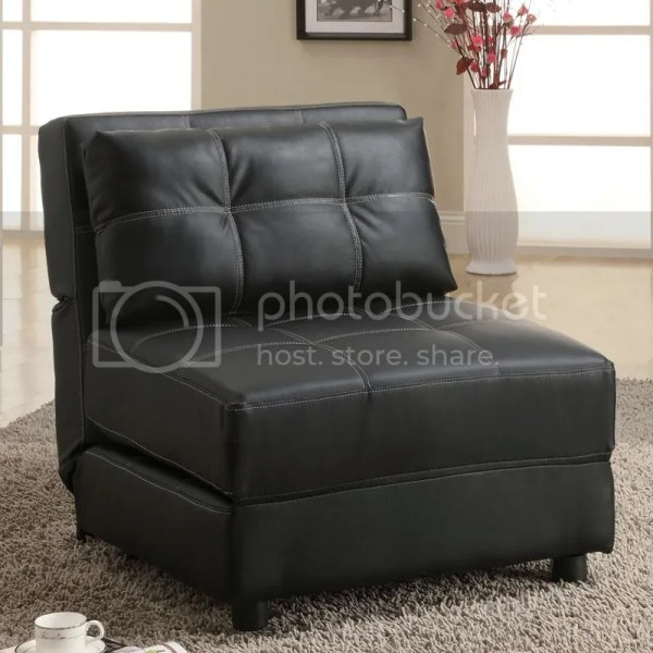 Black Faux Leather Contemporary Armless Accent Seating