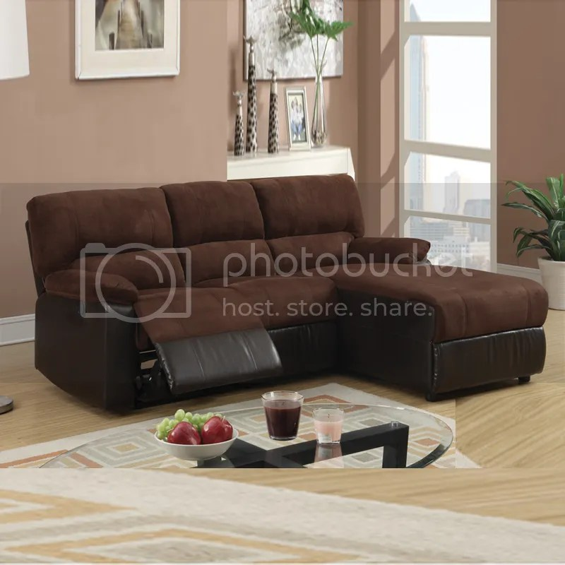 Small Chocolate Microfiber Loveseat Recliner Right Chaise