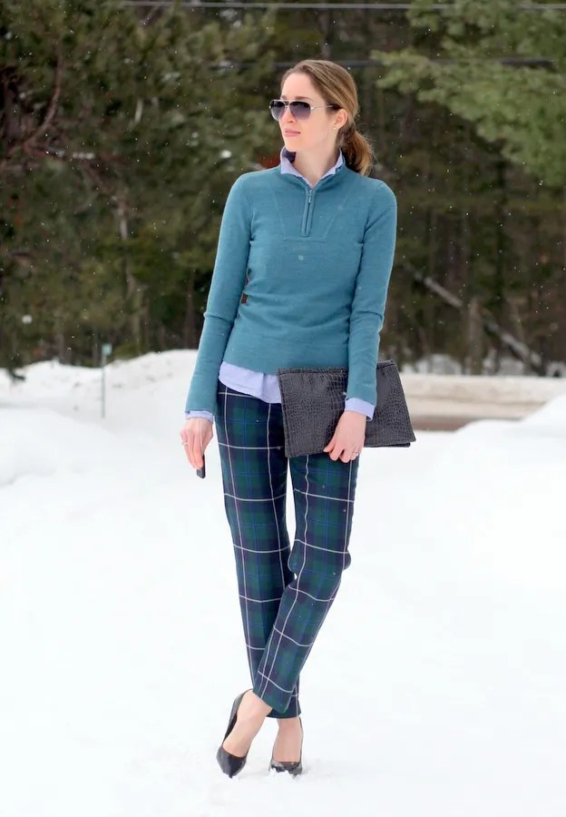 canada winter fashion plaid pants ski sweater