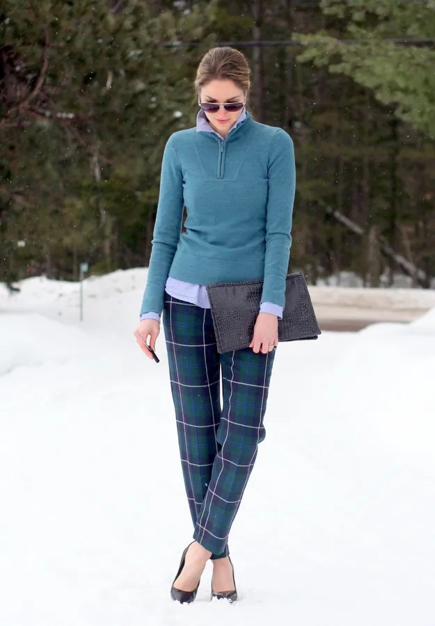 ski sweater plaid pants chambray