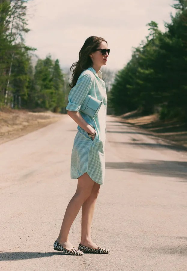 gap gingham shirtdress leopard print loafers