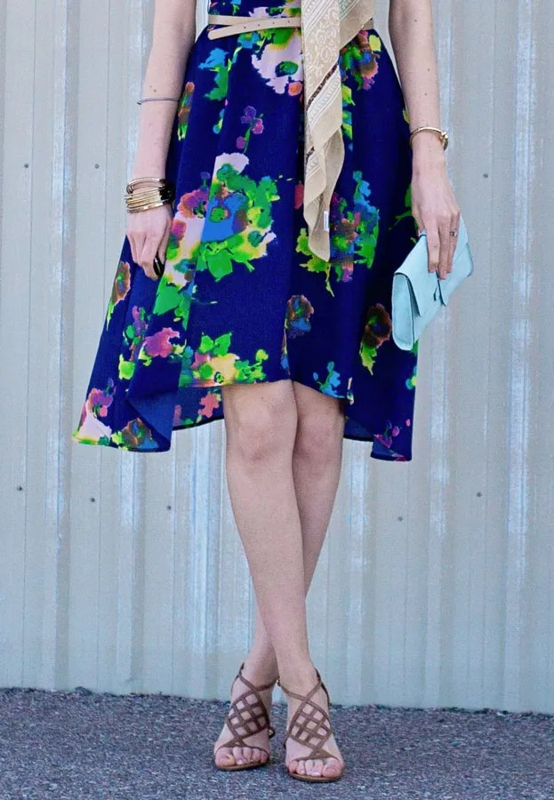 patterson j kincaid blue watercolor asymmetrical floral dress