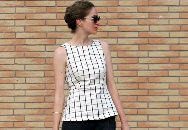 banana republic windowpane peplum shell