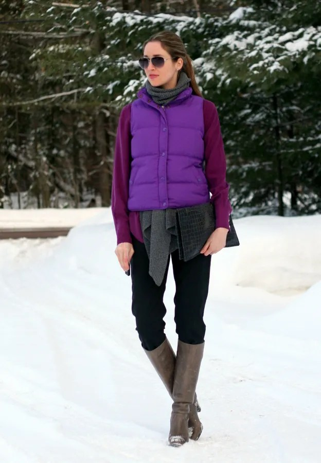 how to wear a winter puffer vest