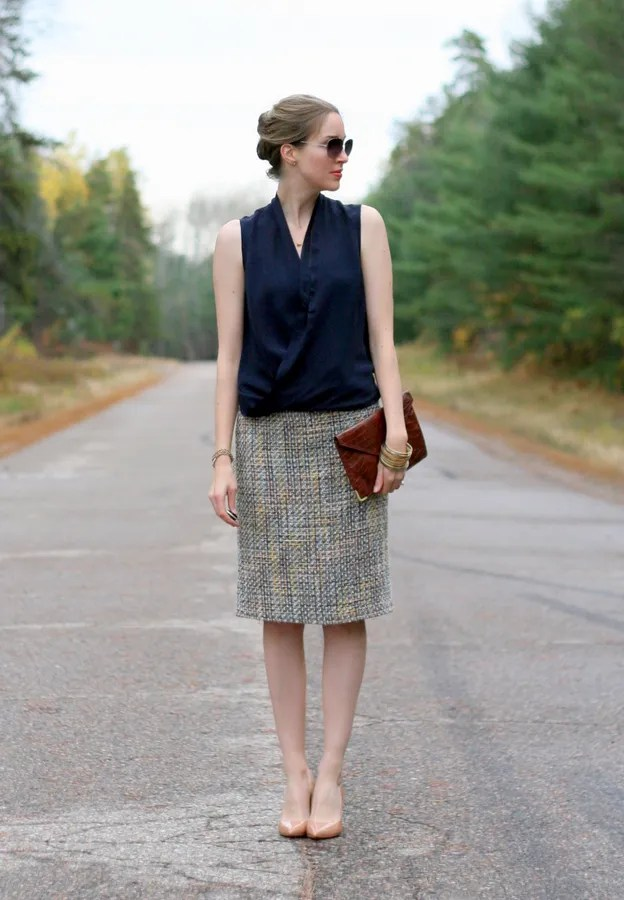 tweed pencil skirt thrifted